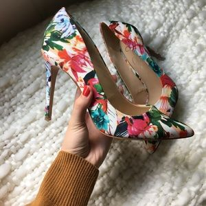 Jessica Simpson colorful floral printed high heels